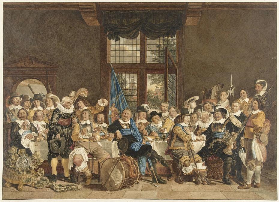 De schuttersmaaltijd in de Voetboogdoelen te Amsterdam ter viering van het sluiten van de vrede van Munster, 18 juni 1648