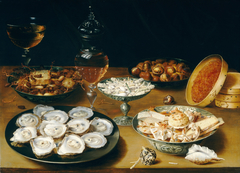 Dishes with Oysters, Fruit, and Wine