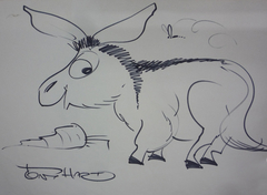 Donkey with Carrot and a Bee