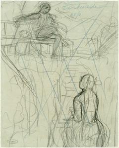 Doorgekraste schetsen van een staand en een zittend figuur
