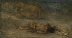 Een leeuwin met haar welpen bij een dode zwarte man, genaamd 'Nemesis'