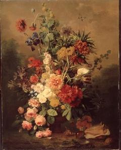 Een rijke compositie van rozen en andere bloemen