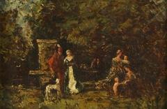 Elegant Figures in a Woodland Glade
