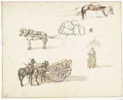 Enkele studies van karren en een staande boerin