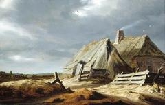 Farm buildings in a landscape