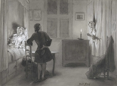Ferdinand Huyck in het opkamertje, Tante in de bedstee en het hoofd van Susanna tussen de gordijnen