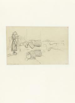 Figuurstudie met een staande en twee liggende mannen