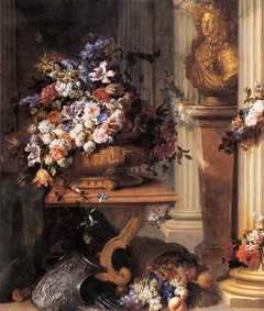 Flowers in a Gold Vase, Bust of Louis XIV, Horn of Plenty and Armour