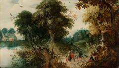 Forest View with Travellers