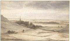 Gezicht vanuit de duinen op het dorpje Schoorl