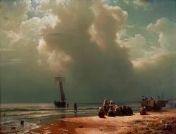 Het strand van Scheveningen bij opkomende onweersbui