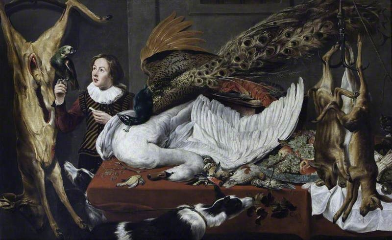 Hung Game with a Swan and a Peacock on a Table and a Page Holding a Parrot