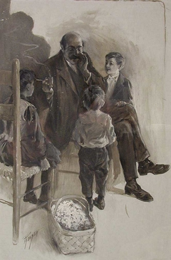 """Illustration for James Whitcomb Riley's """"A Defective Santa Claus"""""""