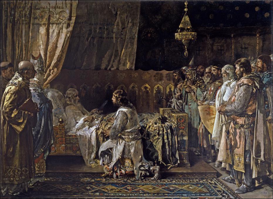 In his final moments, King Jaime el Conquistador gives his sword to his son, Pedro