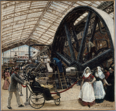 Intérieur de la galerie des machines à l'exposition universelle de 1889