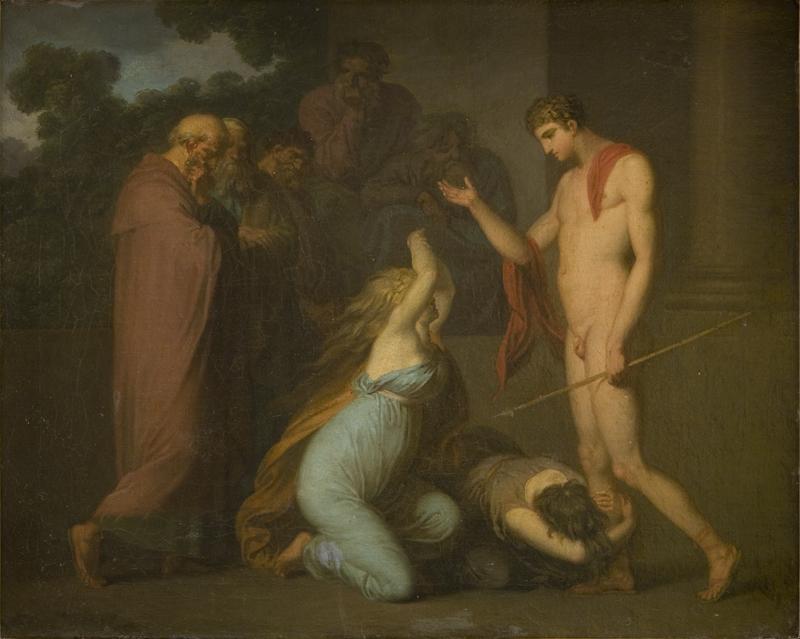 Ismene and Antogone Plead with Theseus