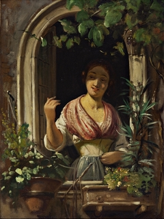 Italian woman waving from a window