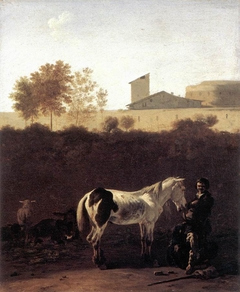 Italianate Landscape with Herdsman and a Piebald Horse