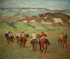 Jockeys on Horseback before Distant Hills