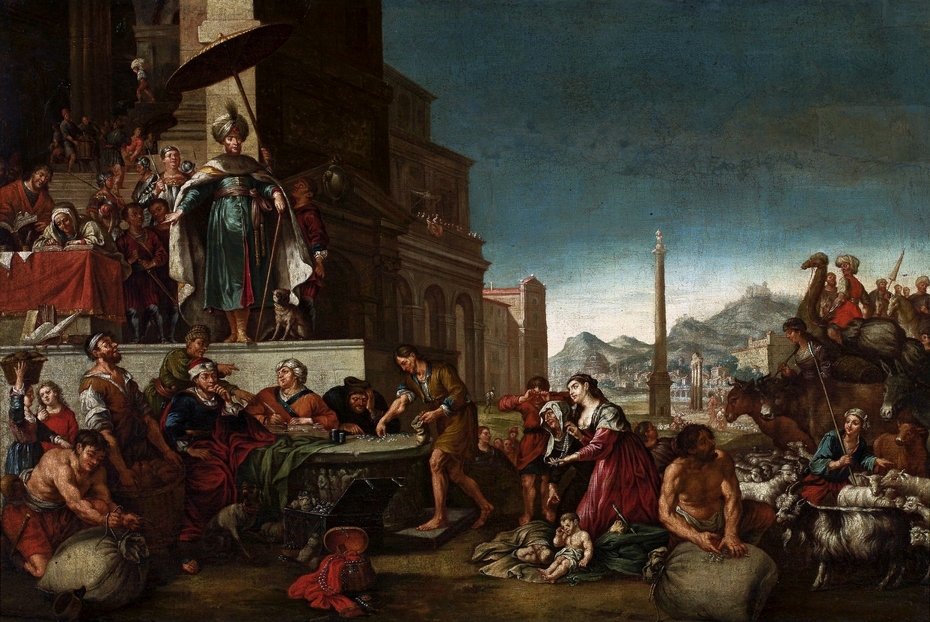 Joseph selling grain in Egypt