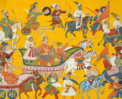 King Dasaratha and His Retinue Proceed to Rama's Wedding:  Folio from the Shangri Ramayana Series (Style II)