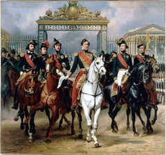 King Louis-Philippe escorted by his sons leaving Versailles on June 10, 1837