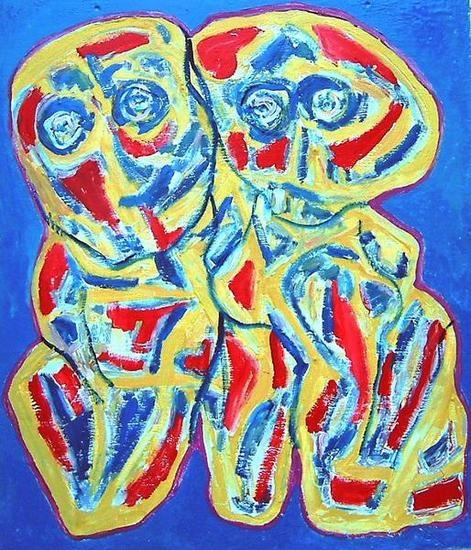 Koppel in blauw - Couple in bleu