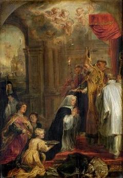 La Prise de voile de sainte Gertrude et l'incendie de l'abbaye de Nivelles