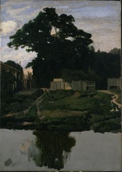 Landscape Study (Tree, Structures, and Pond)