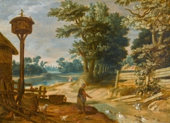 Landscape with a peasant woman feeding ducks