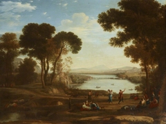 Landscape with Two Figures dancing with Tambourines (after Claude Lorrain)