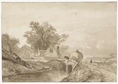 Landschap met een brug met daarop een hooiwagen