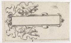 Langwerpige cartouche met twee putti