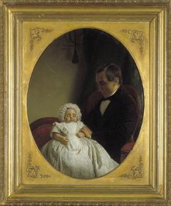 Levinus Wilhelmus Christiaan Keuchenius (1822-1893) met zijn overleden zoontje Anton W.F Keuchenius (1856-1857).