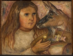 Little girl with a goat