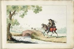 Man en gemaskerde vrouw te paard