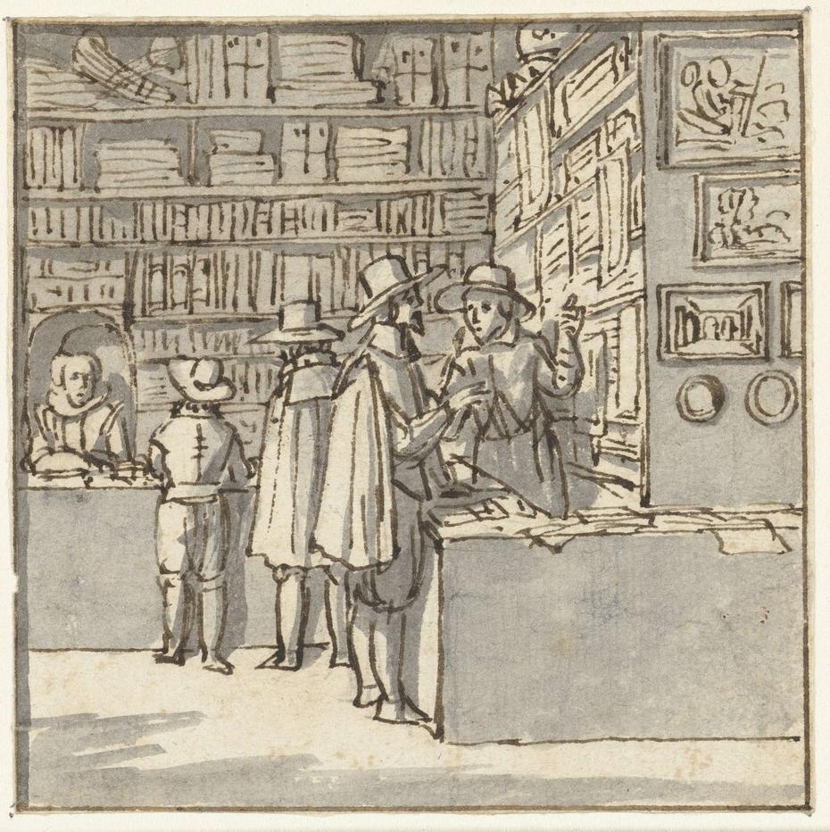 Mannen in een boekenwinkel
