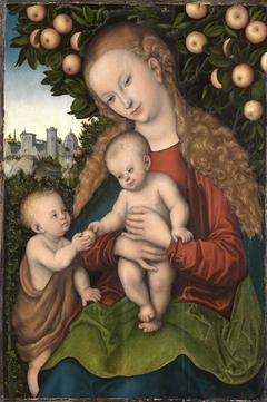 Maria mit dem Kind und dem Johannesknaben unter dem Apfelbaum