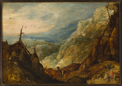 Mountain landscape with a broken tree