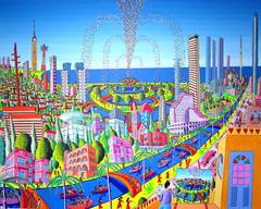 naive art paintings tel aviv israel urban landscape painting by israeli painter raphael perez