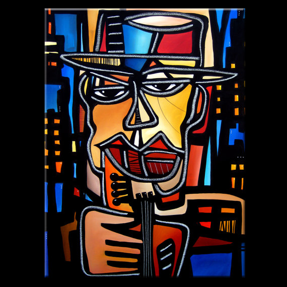 Night Moves - Original Abstract painting Modern pop Art Contemporary large cubist Portrait FACE music jazz by Fidostudio