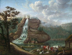 Nordic Landscape with a Waterfall