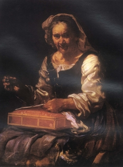 Old woman with needlework