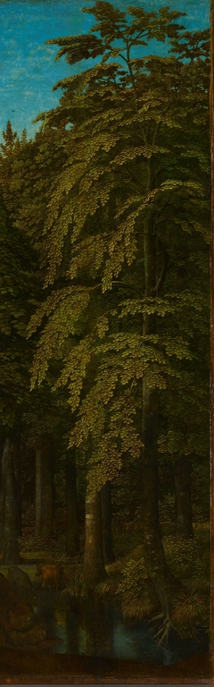Outer right wing of a triptych with a view in a forest