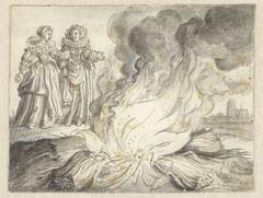 Phyllis en Anna bij een stapel brandend stro