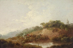Pond with a Woody Escarpment, with Figures