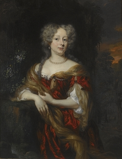 Portrait of a Lady in a Red Dress in a Landscape