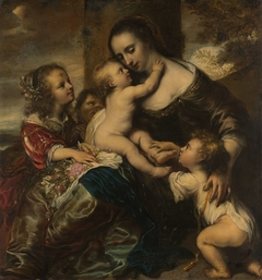 Portrait of a woman with four children, depicted as Caritas