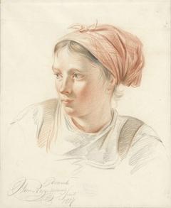 Portret van jonge vrouw, driekwart naar links