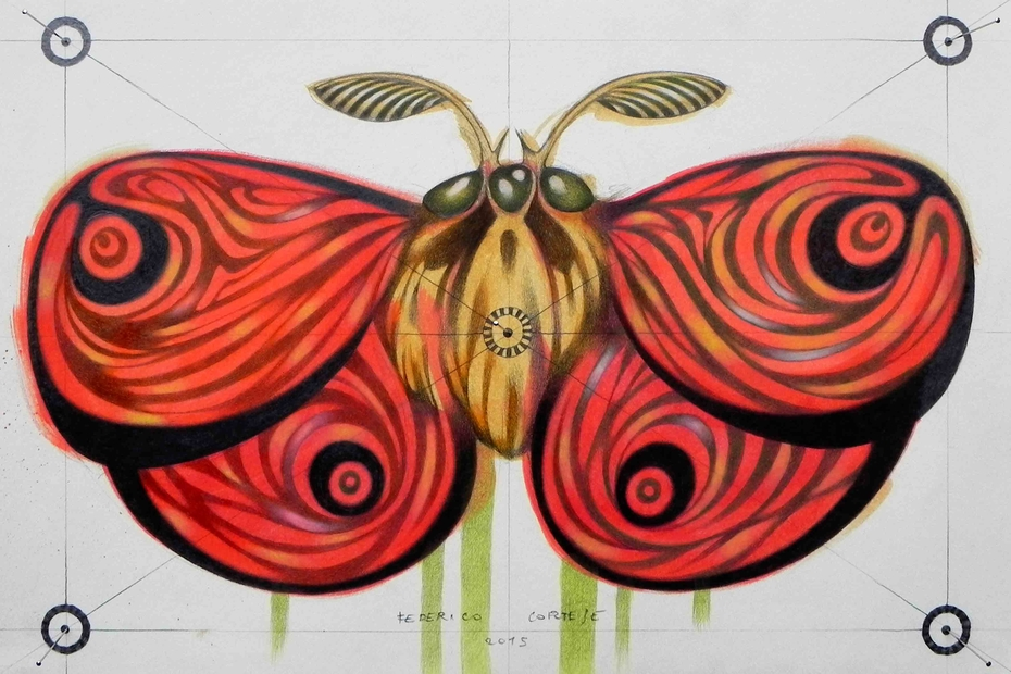 red moth - SOLD